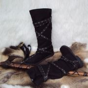 Medieval Calf High Brown Warrior Boots